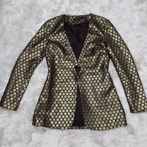 Ark & co gold and black scalloped blazer